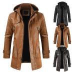 ミリタリージャケットミディアム丈紳士服 レザーコート裏起毛フェイクレザージャケット皮ジャン 革ジャン メンズ 皮革ジャケット二枚