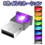 8色 切替え イルミライト USB LEDライト 車内 照明 室内 夜間 イルミネーション グラデーション 車 パソコン USB端子 保護 汚れ防止 補助照明 車内照明 自動点灯
