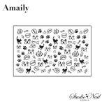 Amaily アメイリー ネイルシール No.3-13 黒猫 キャット