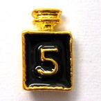 【メール便OK】99円☆ジュエリーデコパーツ パロディ 香水瓶 黒エナメルゴールド 1個