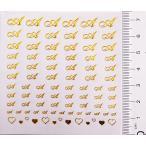 【メール便OK】パッケージなし ネイルシールns01 アルファベット イニシャル筆記体【A】ゴールド&ハート