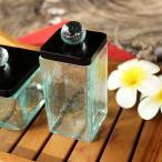 ガラスの小物入れ クリア バリ島のガラスケース コットンケース 蓋付 ブラック
