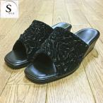 婦人用ヒールスリッパ フットペット サテンローズ 1-2 ブラック Sサイズ(22cm程度)