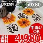 ショッピング玄関 玄関マット 室内用 おしゃれ 北欧 かわいい 屋内 花柄 オレンジカービング モダンボタニカル フラワーマット 洗えるマット 50x80cm マリヤ