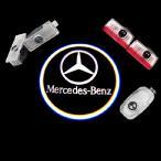 [Mercedes Benz] ベンツ ロゴ光る LEDドアカーテシランプ ウェルカムランプ 発光 LED投影 DC12V 2個セット ホワイト 純正交換 簡単取付/2個 【穴あけ不要】