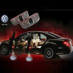 VW(フォルクスワーゲン)ロゴ光る LEDドアカーテシランプ ウェルカムランプ 発光 LED投影 DC12V 2個セット ホワイト 純正交換 簡単取付/2個 【穴あけ不要】