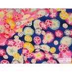 朝顔咲いたリップル いろとりどりのアサガオ 甚平や浴衣、夏物衣料の手作りに最適な生地 シボのある生地 やや薄手リップル サッカー プリント生地画像