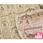 有輪商店 YUWA ちいさなケーキとストライプ 綿麻キャンバス スイーツロンドコレクション Les Petits Gateaux 生地・布 446656