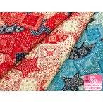 アメリカンロックなバンダナ柄 オックスプリント 中厚 綿100% 110cm巾 生地 布 オフ・レッド・ブルー・濃いあお