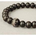 数珠ブレスレット 黒檀 (艶消し) 8ミリ玉 御題目彫 (親玉のみ)