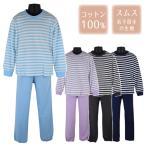 綿100% パジャマ 子供 キッズ ボーダー×無地 長袖 スムス スーツ 上下セット Chuchum 4色 130-160cm 【送料無料】