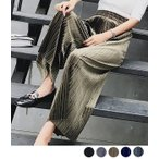 ベロア プリーツ ワイドパンツ ガウチョパンツ ウエストゴム ゆったり 履きやすい 可愛い パンツ 体型カバー レディース