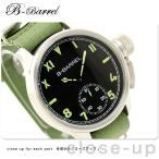 機械式腕時計 スモールセコンド 腕時計 手巻き ブラック×グリーン ナイロンベルト B-Barrel BB0046-4