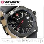 ウェンガー WENGER 腕時計 メンズ アルパイン デイト オールブラック レザーベルト W0475