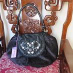 ipa-nima:イパニマ デザイナーズブランドバッグ アジアン バッグ 黒−濃紫 レザー+コットン