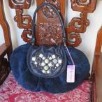 ipa-nima:イパニマ デザイナーズブランドバッグ アジアン バッグ 紺 レザー+コットン