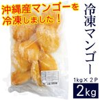 沖縄産 冷凍カットマンゴー2kg(1kg×2袋)(送料無料)(冷凍便)