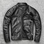 レザージャケット本革 ライダース ジャケット メンズ 牛革 シングル ブラック ショート丈 バイクジャケットブルゾン 革ジャン