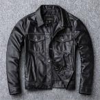 レザージャケット メンズ 本革 羊革  M-4L 黒 折襟 革ジャンメンズ ラム革 ライダース ジャケット メンズ 本革