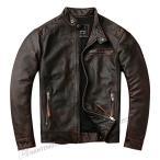 ライダースジャケット メンズ 本革 シングル 立て襟 レザージャケット メンズ 牛革 革ジャン メンズ 本革 ブルゾン アウター 皮ジャン