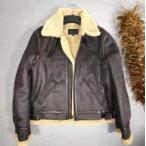 毛皮一体 男性 B3 フライトジャケット ベルベット 厚 バイクジャケット 青年革ジャン ワッペン レザージャケット 本革コート