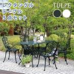 レクタングルテーブル 5点セット アルミ製 ガーデン テラステーブル チェア 重厚感 アウトドア 庭 ベランダ ガーデニング テーブル イス 送料無料