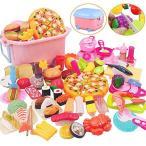 Tebrcon 65点 おままごと キッチン セット 子供 知育玩具 DIY 寿司 果物 海鮮 ハンバーグ コンロ ままごと用調理器具 付け 親子遊び