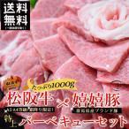 松阪牛 A5A4&群馬県産ブランド 嬉嬉豚 特上焼き肉・バーベキューセット 約1000g (メガ盛り 牛肉 豚肉 黒毛和牛 焼き肉 BBQ)