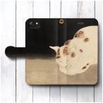 iPhone8Plus ケース iPhone7Plus アンドロイド スマホケース 手帳型 絵画 全機種対応 ケース 人気 あいふぉん 河鍋暁斎 暁斎楽画 眠り猫