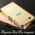 SONY Xperia Z3 Compact SO-02G Z5 Compact SO-02H ケース 金属フレーム PMMA エクスペリア Z5 Compact 鏡面 クール アルミ合金 ファッション スマホケース