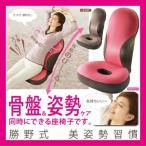 勝野式 美姿勢習慣 ストレッチレシピ付 骨盤&姿勢ケアができる座椅子 ラズベリー/ココア(猫背補整/腰痛矯正リクライニングチェアー/座イス/座いす)