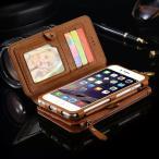 スマホ ケース カバー iphone6 plus 本革調 手帳型 お財布ケース カード×17