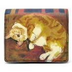 マンハッタナーズ 牛皮二つ折りBOX財布 眠れるふわふわ 75-1012-MOC Manhattaner's 猫グッズ 猫雑貨 革 財布 サイフ 猫 財布