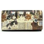 ショッピングマンハッタナーズ マンハッタナーズ 牛皮かぶせタイプ 長財布 猫たちの最後の晩餐 (75-1015-NBRZ) Manhattaner's 猫グッズ 猫雑貨 猫 財布 サイフ