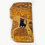 猫 キーケース 革 WAマスタード CATWALK OIKAWA 及川浩 猫グッズ 猫雑貨 猫 キーケース キーホルダー