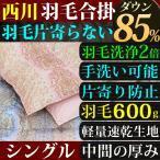 合い掛け布団 羽毛 シングル 西川 洗える ダウン 85% 600g入り 羽毛が片寄らない 京都西川 羽毛洗浄値2倍 送料無料