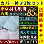 肌掛け布団 シングル 2枚セット 布団カバー付き 洗える 羽毛 85% 300g入り 西川 東京西川 抗菌 防臭 ダウンケット
