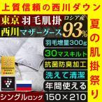 肌掛け布団 シングル 西川 洗える 羽毛 ロシア マザーグース ダウン 95% 300g入り 日本製 プラズマクラスター 抗菌 防臭 羽毛洗浄値2倍 東京西川