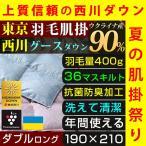 肌掛け布団 ダブル 西川 羽毛 ウクライナ産 グース ダウン90% 日本製 洗える ダウンケット プラズマクラスター 抗菌防臭 送料無料