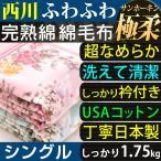 ショッピング毛布 綿毛布 シングル 西川 USAコットン サンホーキン 完熟綿 毛布 日本製 綿100% ふんわり やわらか しっかり1.75kg 東京西川