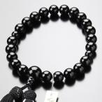 数珠 男性用 黒オニキス 22玉 正絹2色房 数珠袋付き
