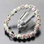 パワーストーン 数珠ブレスレット 約8ミリ 七宝焼き(白) 本水晶