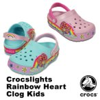 ショッピングサボ クロックス(CROCS) クロックスライツ レインボー ハート クロッグ キッズ(crocslights rainbow heart clog kids) サンダル