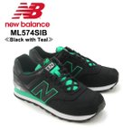ニュー バランス(New Balance) ML574/574 Summer Waves ランニング スニーカー(ML574SIB/Black with Teal) シューズ/メンズ/男性用
