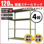 ショッピングスチール スチールラック 軽量120kg/段(セミボルトA) 表示寸法:高さ90×幅87.5×奥行30cm:4段(枚)自重(14.6kg) ・単体形式:業務用スチールラック スチール棚