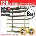 ショッピングスチール スチールラック 軽量120kg/段(セミボルトA) 表示寸法:高さ90×幅87.5×奥行60cm:8段(枚)自重(46.2kg) ・単体形式:業務用スチールラック スチール棚