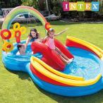 インテックス ビニールプール INTEX レインボーリングプレイセンター ME-7019 57453NP 大型プール 297x193x135cm 滑り台つき