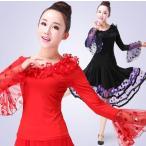 ショッピングトップス 新入荷 大きいサイズ 社交ダンスドレス  ラテンドレス モダンドレス ロングスカート ダンスウエア・ トップス 競技 デモ ダンス衣装