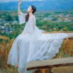 マキシワンピ マキシワンピース ドレス 長袖マキシ丈 結婚式 白 ホワイト ロング ワンピース レディース