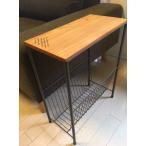 ショッピングサイドテーブル サイドテーブル 収納付き ソファテーブル サイドラック スリッパラック 天然木×アイアン 送料無料 完成品 ブラウン